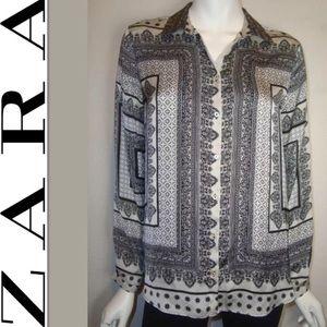 ZARA sz Medium 100% Silk Patterned Blouse